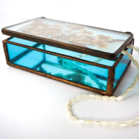 Vintage Other - Vintage Stained Glass and Copper Trinket Box